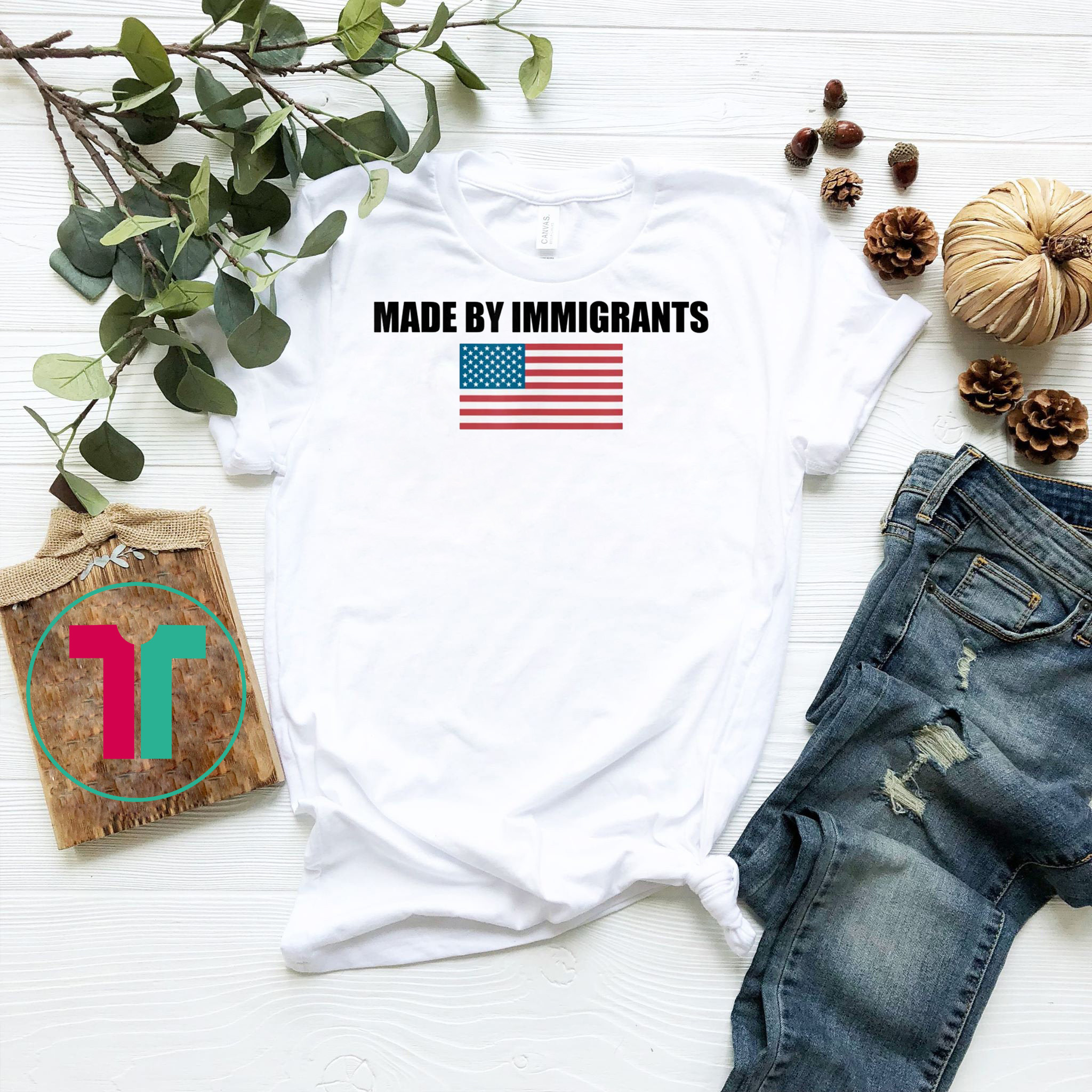 Made by Immigrants USA Flag Tee Shirts