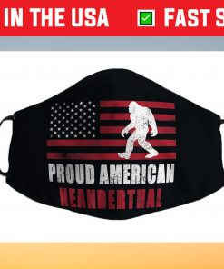 American Neanderthal vintage Flag for Proud Neanderthals Face Mask Made In Usa