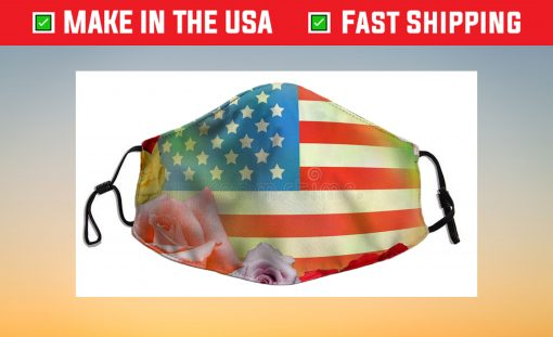 American flag Bee flowers Filter Face Mask