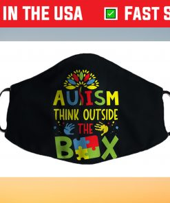 Autism Think Outside The Box Puzzle Pieces Funny Autism Cloth Face Mask