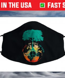 World Peace Tree Love People Earth Day 60s 70s Hippie Retro Cloth Face Mask