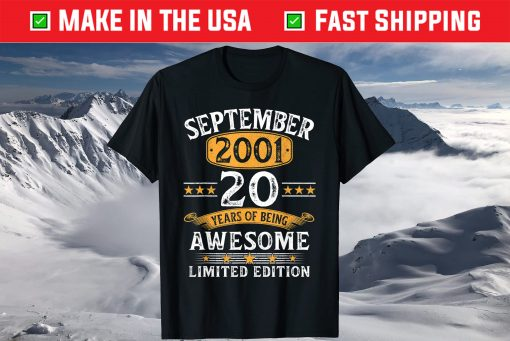 20 Year Old Decoration Vintage September 2001 20th Birthday T-Shirt