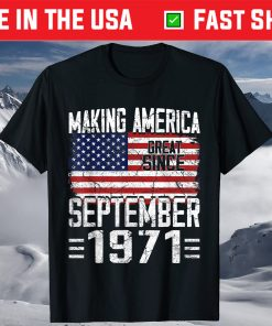 49th Birthday September 1971 American Flag 49 Years Old T-Shirt
