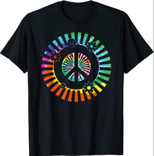 PEACE SIGN LOVE Shirt 60s 70s Tie Dye Hippie Costume Funny TShirt