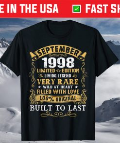 Vintage 23rd Birthday September 1998 23 Years Old T-Shirt