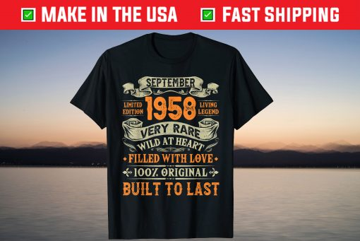 Vintage September 1958 62 Years Old 62nd Birthday T-Shirt